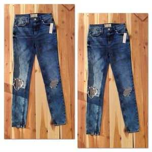 Free People High Waisted Busted Knee Skinny Jeans